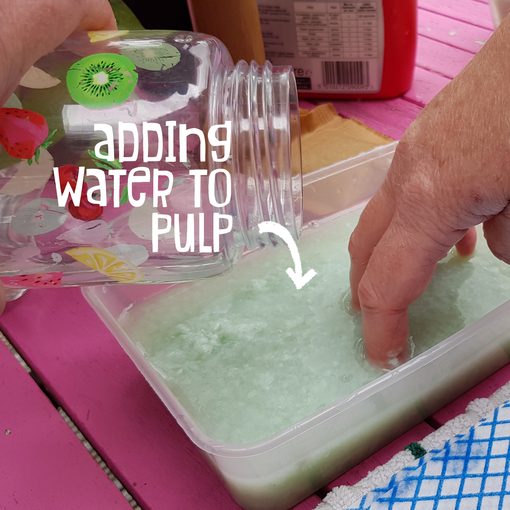 Adding water to pulp